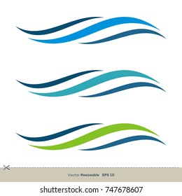 Water Waves Swoosh Vector Logo Template