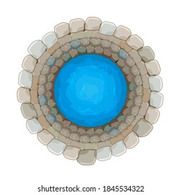 Water well of brick isolated on white background. Top down view on well full of water over. Artesian reservoir well of drinking water. Source of pure water from the bowels of the earth. Stock vector