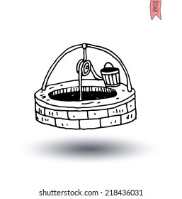 Water Well and Bucket, vector illustration.
