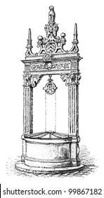 Water well in Hanau (Germany) / vintage illustration from Meyers Konversations-Lexikon 1897