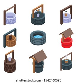 Water well icons set. Isometric set of water well vector icons for web design isolated on white background