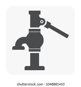 Water well pump icon. Also called hand powered water pump or hand pump or pitcher pump. That installed over water well or borehole for shallow groundwater source and using for option backup pumping.