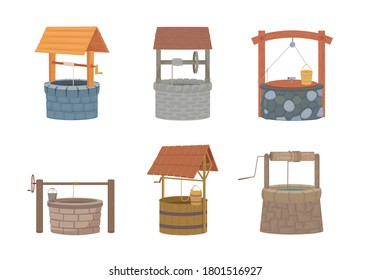 Water well set. Rustic stone and wood design with bucket and protective cover old traditional drinking water lift must have in city and village since ancient times. Cartoon vector.