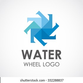 Water wheel of blue circle abstract vector and logo design or template round business icon of company identity symbol concept