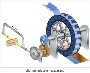 Water wheel with Crankshaft (mechanical conversion of motion)