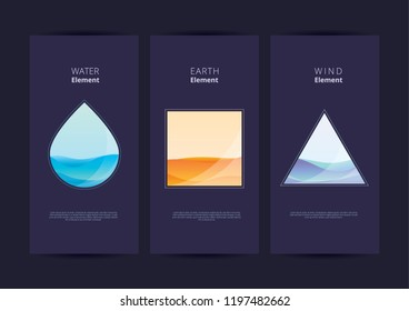 Water Wind Earth Elements Abstract. Vector Illustration