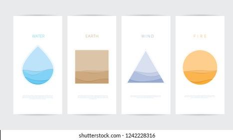 Vektor-Illustrationspapier mit vier Elementen aus dem Wind-Earth-Feuer geschnitten