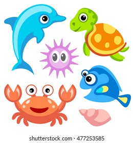 Water World: dolphin, turtle, crab, fish and sea urchins. Funny cartoon character