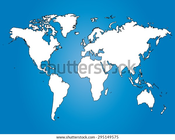 Water World Map Illustration Largest Cities Stock ...