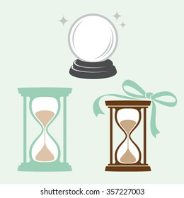 Water-clock and crystal ball vector illustration - Time and future concept icons set