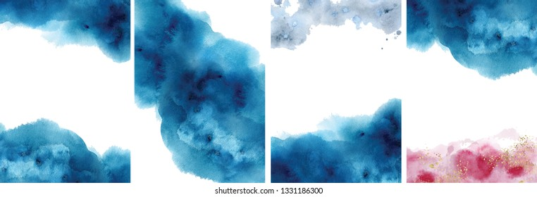 Watercolor abstract aquamarine, background, hand drawn watercolour blue, pink and gold texture Vector illustration
