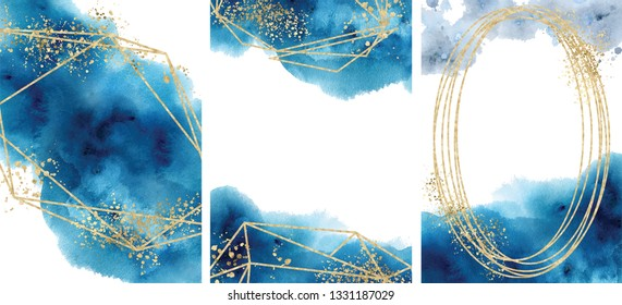Watercolor abstract aquamarine, background, hand drawn watercolour blue and gold texture Vector illustration