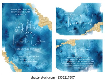 Watercolor abstract aquamarine, background, hand drawn watercolour blue  texture Vector illustration