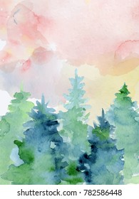 Watercolor abstract woddland, fir trees silhouette with ashes and splashes, winter background hand drawn illustration