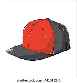 Watercolor accessory.Cap. Vector.