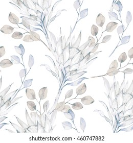 Watercolor african protea and eucalyptus leaves pattern. Seamless motif with painted floral elements on white background for wrapping, wallpaper, fabric, decoration print. Vector illustration