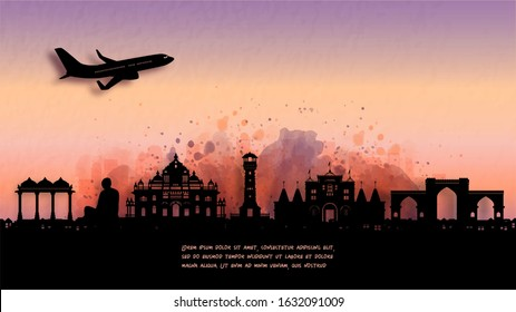 Watercolor of Ahmedabad, India silhouette skyline and famous landmark. vector illustration.
