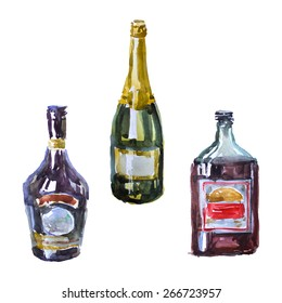 Watercolor alcohol bottles set on a white background