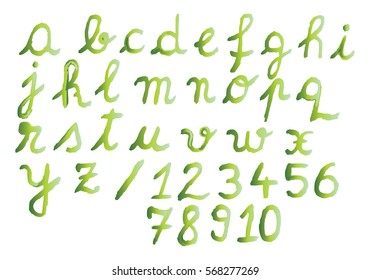 Watercolor alphabet and numbers with green shades