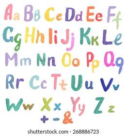 Watercolor Alphabet, Vector Illustration