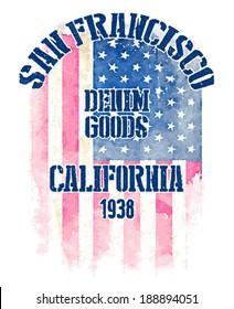 Watercolor american flag print