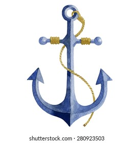Watercolor anchor with rope.  Watercolor vector element. Hand painting.