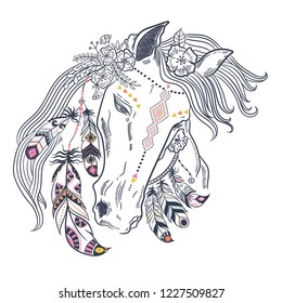 Watercolor animal floral boho illustration - horse with flower and feather elements for wedding, anniversary, birthday, etc. invitations.