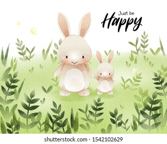 Watercolor art of cartoon cute bunny on grass field, template for greeting card, EPS 10 vector