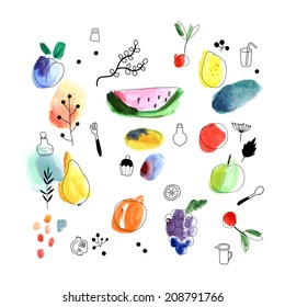 Watercolor art. Fruits, berries. Isolated on a white background. Vector.