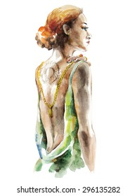 Watercolor artwork with an elegance young woman. Hand drawn illustration. Vector illustration