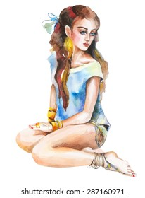 Watercolor artwork with a sitting girl. Hand drawn vector illustration