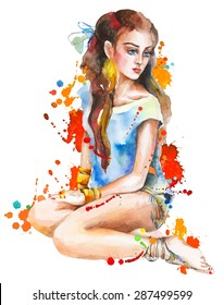 Watercolor artwork with a sitting girl and splashes. Hand drawn vector illustration