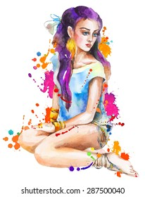 Watercolor artwork with a sitting girl and splashes. Bright colors, Holi festival. Hand drawn vector illustration