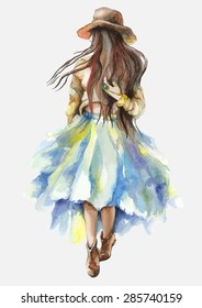 Watercolor artwork with a walking girl. Boho style. Hand drawn vector illustration