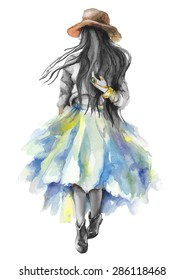 Watercolor artwork with a walking girl. Boho style. Gray scale stylization. Hand drawn vector illustration