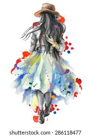 Watercolor artwork with a  walking girl in splashes. Boho style. Gray scale stylization. Hand drawn vector illustration