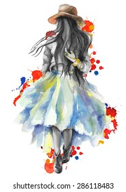 Watercolor artwork with a  walking girl in splashes. Gray scale stylization.Boho style.  Hand drawn vector illustration