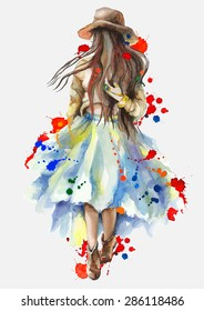 Watercolor artwork with a walking girl in splashes. Boho style. Hand drawn vector illustration