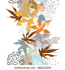 Watercolor asian crane bird seamless pattern. Japanese maple leaves, cranes silhouettes, grunge textures on dark blue background. Hand painted art illustration inspired by eastern traditional style