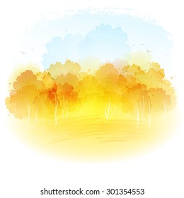 Watercolor autumn landscape. Vector illustration EPS 10