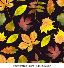 Watercolor autumn leaves seamless pattern. Vector fall background.