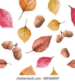 Watercolor autumn nature seamless pattern. Hand drawn texture with red, yellow and orange tree leaves, acorn and cone on white background. Vector season wallpaper