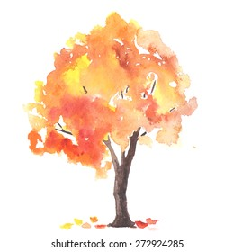 Watercolor autumn tree made in vector.