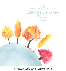 Watercolor autumn trees made in vector. Fall colors.