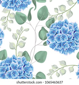 Watercolor baby blue eucalyptus and hydrangea flowers seamless pattern, silver dollar eucalyptus tree foliage, branch, greenery. Decorative background in rustic boho style for wedding invite, fabric.