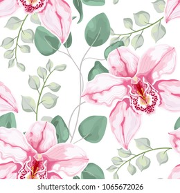 Watercolor baby blue eucalyptus and pink orchid flowers seamless pattern, silver dollar eucalyptus tree foliage, branch, greenery. Decorative background in rustic boho style for wedding invite, fabric