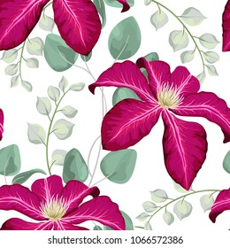 Watercolor baby blue eucalyptus and pink clematis flowers seamless pattern, silver dollar eucalyptus tree foliage, branch, greenery. Decorativebackground in rustic boho style wedding invite, fabric