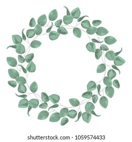 Watercolor baby blue eucalyptus wreath for wedding cards, silver dollar eucalyptus tree foliage in circle, herbs, leaves, branch, greenery frame. Decorative design elements in rustic elegant style