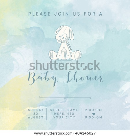 922727f07 Watercolor Baby Boy Shower Card Retro Stock Vector (Royalty Free ...