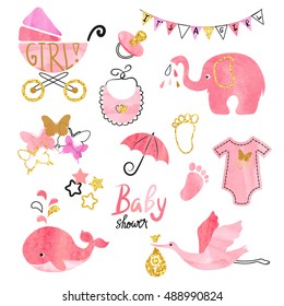 Watercolor Baby Shower girl set. Collection of vector design elements.